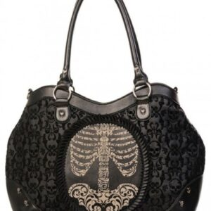 Black Banned Detailed Skeleton Handbag